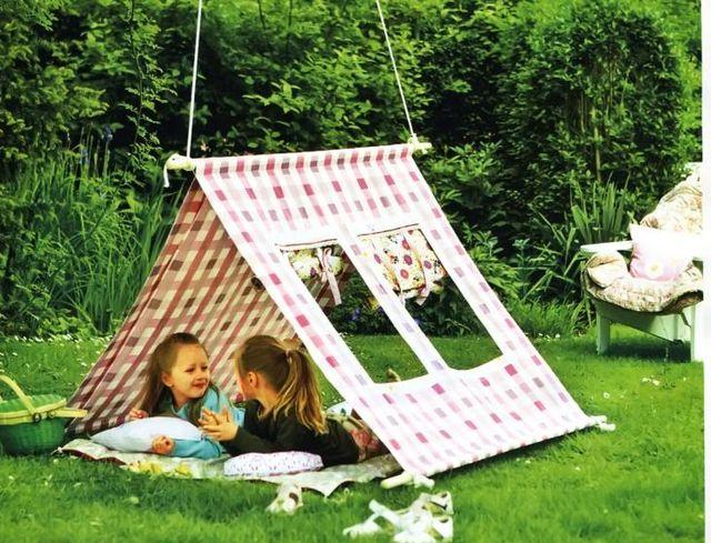 Чем занять ребенка летом на даче. Детский домик из палатки